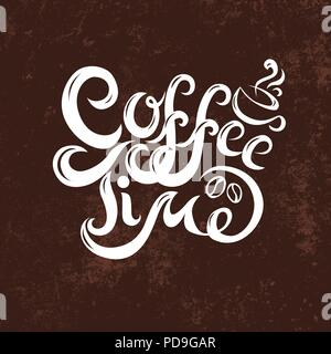Coffee time phrase banner modern calligraphy inscription handwritten white text on grunge coffee-colored background. - Stock Photo