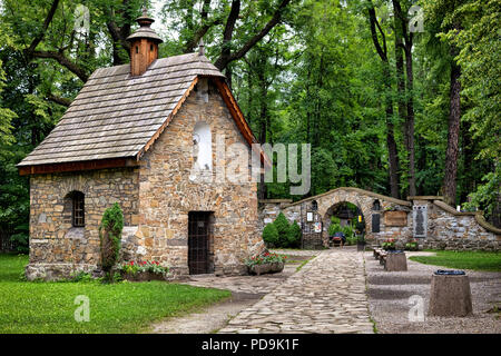 Old Town of Zakopane, Poland. Historic Gasienica Chapel - first sacred building in Zakopane. It was built around 1800. - Stock Photo