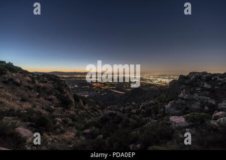 Predawn view of the San Fernando Valley in Los Angeles California.  Shot from Rocky Peak Park near Simi Valley. - Stock Photo