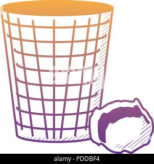 trash bucket and crumpled paper ball over white background, vector illustration - Stock Photo