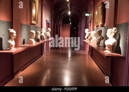 a row of busts of the Bonaparte family on display in la  Galerie des sculptures, ( Sculpture gallery) at the Fesch museum on Rue Cardinal Fesh in Ajac - Stock Photo