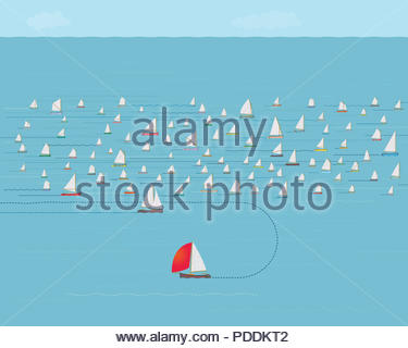 Sailboat changing direction, New Direction, Business Strategy Concept, Nautical , Illustration, Concepts & Topics, Data, Sailing, Timing, Precision - Stock Photo
