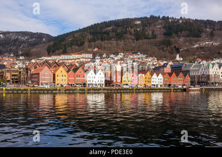 Bryggen, Bergen, Norway taken from a boat in the harbour in the morning. - Stock Photo