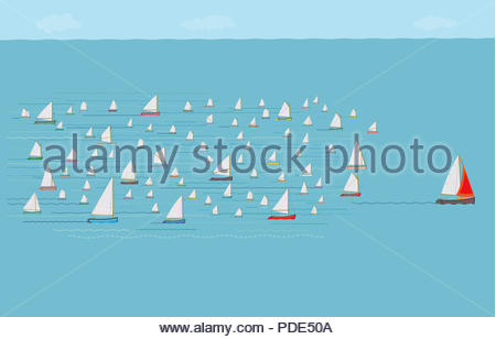 Sailboat Leading the Way, Business Strategy Concept, Concepts & Topics, Sailboats, Winning, Development, Planning, Management, Team work - Stock Photo