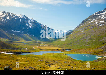 Picturesque road landscape of Norway countryside - Stock Photo
