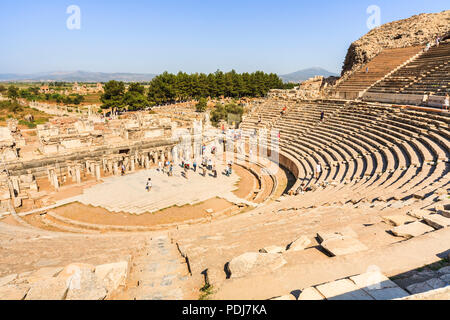 The Great Theatre, an ampitheatre at the Ephesus ancient Greek and Roman city settlement archaeological site on the coast of Ionia, Izmir, Turkey - Stock Photo