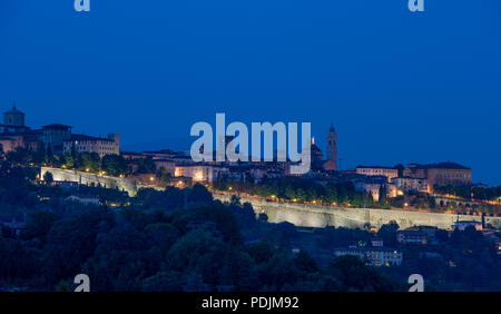 view of the ancient city of Bergamo at sunset - Stock Photo