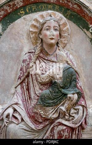 Ehem. Augustinerklosterkirche Unserer Lieben Frauen, Südliche Chorschranke um 1200/1210, Stuckrelief Maria mit Zopf - Stock Photo