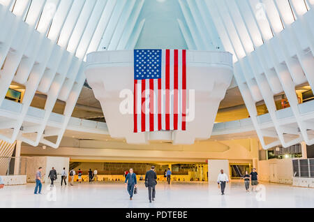 New York - May 31, 2016: The Occulus is a Transportation Hub and Westfield Shopping Center, designed by Santiago Calatrava as part of World Trade Cent - Stock Photo
