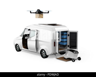 Rear view of delivery drone, robot and van on studio background. Last one mile concept. 3D rendering image - Stock Photo