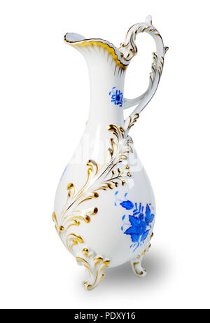 Pitcher ceramic isolated on white background. Clipping path. - Stock Photo