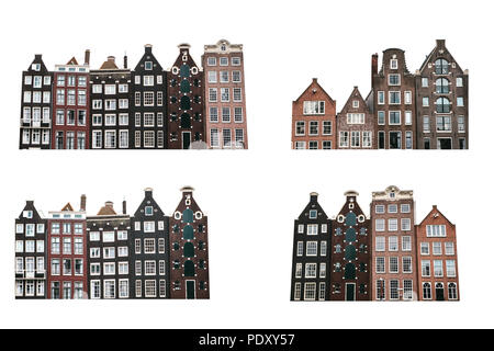 Set of traditional houses in Amsterdam in the Netherlands isolated on white background. - Stock Photo