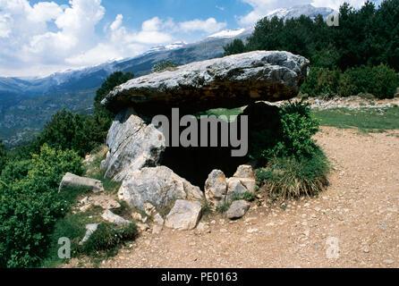 Dolmen of Tella. 4th millennium BC. Neolithic. Near Tella, province of Huesca, Aragon, Spain. - Stock Photo