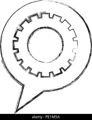 gear work mechanic speech bubble vector illustration hand drawing - Stock Photo