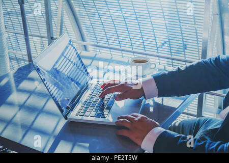 banking or shopping online, e-commerce concept, closeup of hands of businessman working on computer, writing email to customer, business man executive - Stock Photo