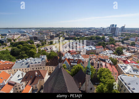 Old buildings at the Old Town, harbor and downtown in Tallinn, Estonia, viewed from above on a sunny day in the summer. - Stock Photo