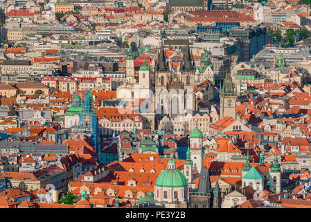 Prague cityscape, aerial city view of the twin-spired Tyn Church sited in the historical Stare Mesto (old town) - in the center of Prague, Czech Rep. - Stock Photo