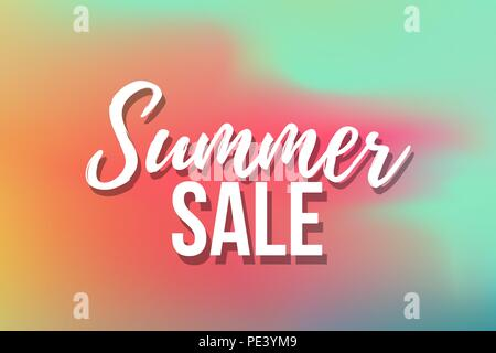 Hot Summer Sale banner. Trendy texture. Season vocation, weekend, holiday logo. Summer Time Wallpaper. Happy shiny Day. Modern vector Lettering. Fashionable styling. - Stock Photo