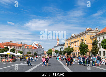 Town Hall Square (Rotušės aikštė) in the Old Town, Vilnius, Lithuania - Stock Photo