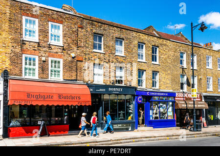 Highgate Butchers and other shops in Highgate Village, London, UK - Stock Photo