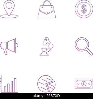 navigation , bag , speaker , coin , dollar , graph , pie