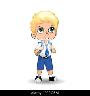 Cute little blonde school boy with big green eyes wearing uniform with backpack isolated on white background. Vector illustration, clip art, template, - Stock Photo