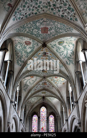 The ceiling of the Church of St Mary and St Blaise, Boxgrove, West Sussex. Foliage and heraldry painted in the mid-16C by Lambert Bernard. - Stock Photo