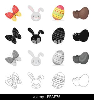 Easter is a Christian holiday cartoon black monochrome outline icons in set collection for design. Easter attributes vector symbol stock illustration. - Stock Photo