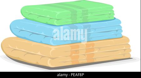 Pile of bath towels - Stock Photo