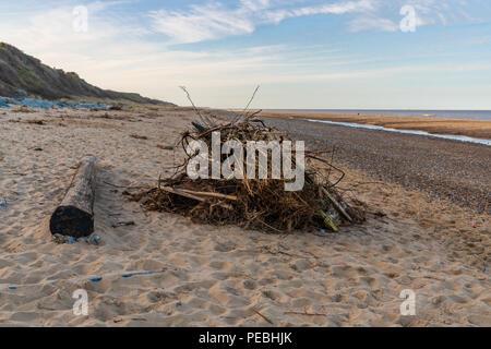 Wood on the beach of California, near Caister-on-Sea, Norfolk, England, UK - Stock Photo