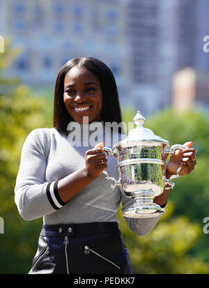 US Open 2017 champion Sloane Stephens of United States posing with US Open trophy in Central Park - Stock Photo