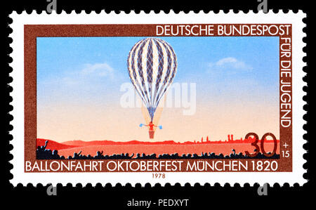 German postage stamp (1978) Fur die Jugend (stamp sold in aid of youth charities)  : Early hot air balloon flight at the 1820 Oktoberfest in Munich - Stock Photo