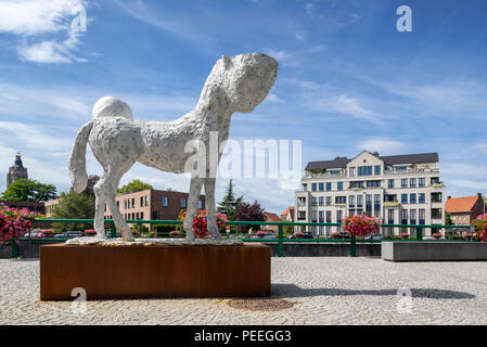 Sculpture Titus by artist Johan Tahon in the city Oudenaarde, East Flanders, Belgium - Stock Photo