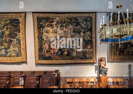 17th and 18th century tapestries in the Collegiate church of St Walburga / Sint-Walburgakerk in the city Oudenaarde, East Flanders, Belgium - Stock Photo