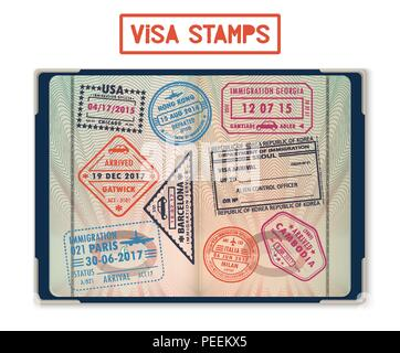 Passport with stamps for United States of America or USA, Korea Seoul, Cambodia and Paris, Hong Kong, China and France, London Gatwick, Georgia. Journey and travel, tourism and immigration theme - Stock Photo