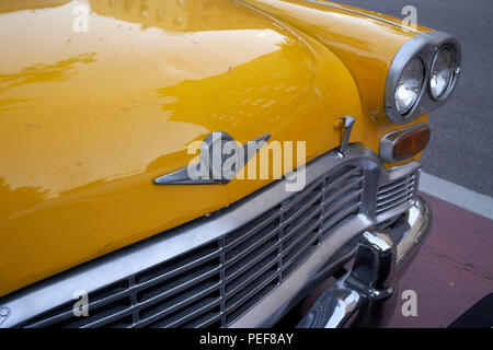 Front of a vintage American Checker taxicab in New York City - Stock Photo