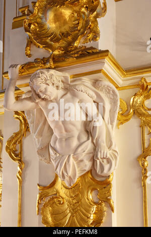 Saint Petersburg, Russia - January 3, 2018: Jordan Staircase in Winter Palace, State Hermitage Museum - Stock Photo