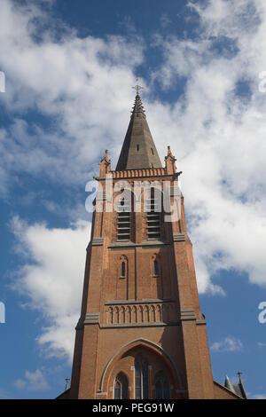Spire of St Josephs Catholic church in Ostend - Stock Photo