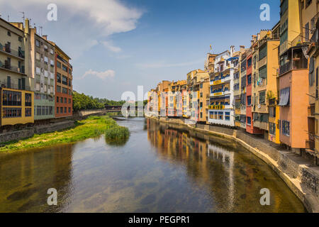 Girona. Multi-colored facades of houses on the river Onyar. - Stock Photo