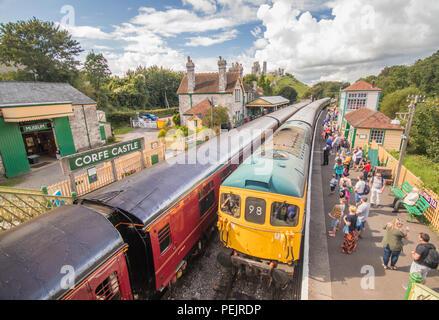 Corfe Castle train station, Swanage Railway, near Wareham, Dorset, UK - Stock Photo