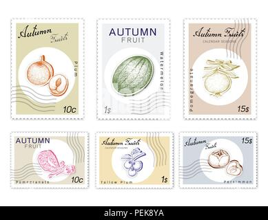 Autumn Fruits, Post Stamps Set of Hand Drawn Sketch Watermelon, Pomegranate, Kaki or Persimmon, Plum and Tallow Plum in Trendy Origami Deep Paper Art  - Stock Photo