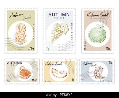Autumn Fruits, Post Stamps Set of Hand Drawn Sketch Fig, Melon, Red Grapes, Wine Grape and Cranberry  in Trendy Origami Deep Paper Art Carving Style. - Stock Photo
