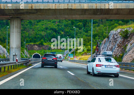 Highway A1, vicinity of Zadar, Croatia, July 1 2018: A1 Highway in Croatia from Zagreb to Split and Adriatic sea is one of the busiest highways during - Stock Photo