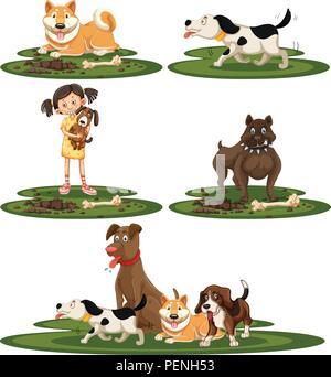 A set of dog breed illustration - Stock Photo