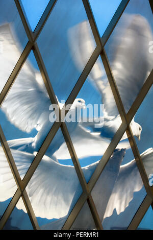 Central Asia, Kazakhstan, Astana, Palace of Peace and Reconciliation pyramid, stained glass ceiling - Stock Photo