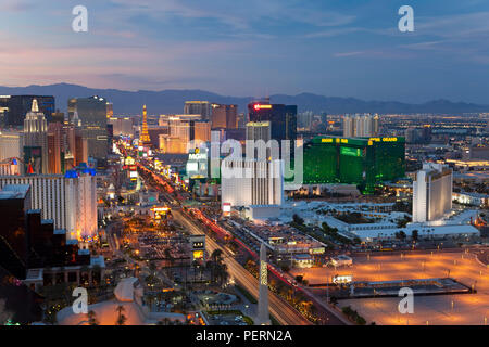United States of America, Nevada, Las Vegas, Elevated dusk view of the Hotels and Casinos along the Strip - Stock Photo