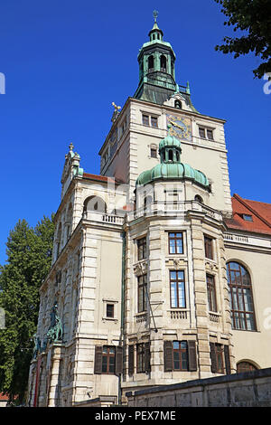 Munich Germany, view of Bavarian National Museum of decorative arts, built in historicism style in 1894-1900,designed by Gabriel von Seidl - Stock Photo