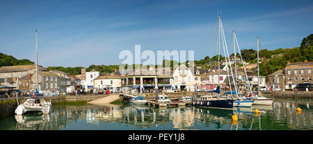UK, Cornwall, Padstow, The Strand and hillside houses from the inner harbour, panoramic - Stock Photo