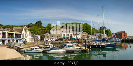 UK, Cornwall, Padstow, leisure boats moored in inner harbour, panoramic - Stock Photo