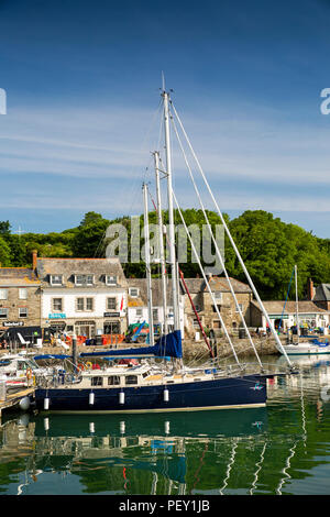 UK, Cornwall, Padstow, leisure boats moored in inner harbour - Stock Photo